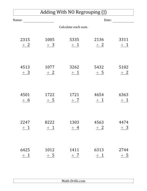 The 4-Digit Plus 1-Digit Addition with NO Regrouping (J) Math Worksheet