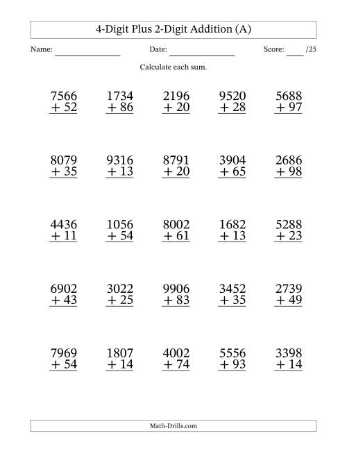 The 4-Digit Plus 2-Digit Addition with SOME Regrouping (A) Math Worksheet