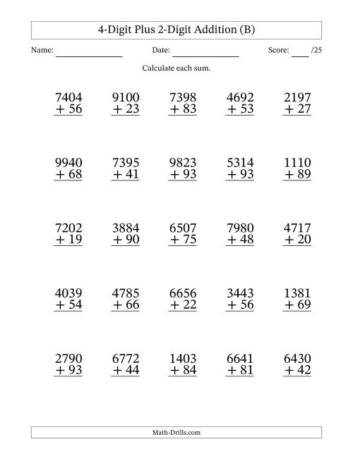 The 4-Digit Plus 2-Digit Addition with SOME Regrouping (B) Math Worksheet