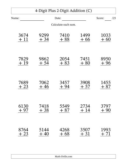 The 4-Digit Plus 2-Digit Addition with SOME Regrouping (C) Math Worksheet