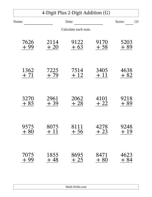 The 4-Digit Plus 2-Digit Addition with SOME Regrouping (G) Math Worksheet