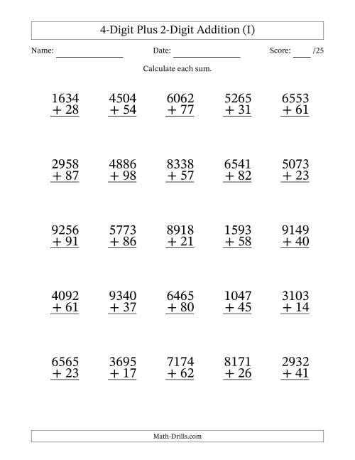 The 4-Digit Plus 2-Digit Addition with SOME Regrouping (I) Math Worksheet