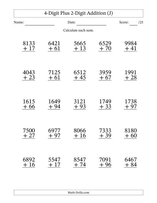 The 4-Digit Plus 2-Digit Addition with SOME Regrouping (J) Math Worksheet