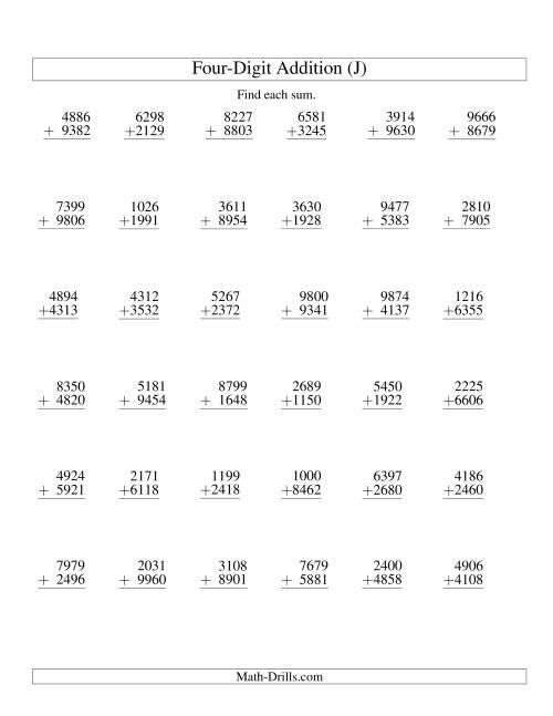 The Four-Digit Addition -- 36 Questions (J) Addition Worksheet