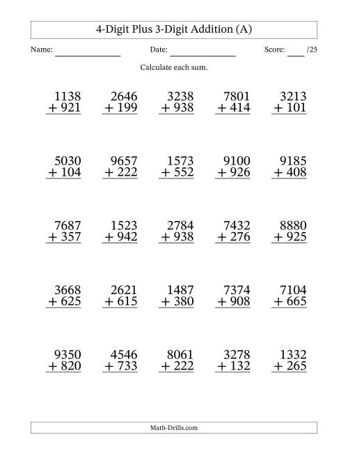 worksheet Multidigit Addition And Subtraction Worksheets 4 digit plus 3 addition with some regrouping a