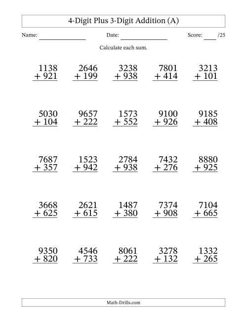 math worksheet : adding four digit and three digit numbers a addition worksheet : Three Digit Addition Worksheet