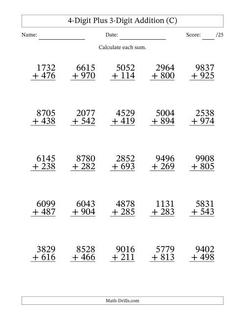 The 4-Digit Plus 3-Digit Addition with SOME Regrouping (C) Math Worksheet