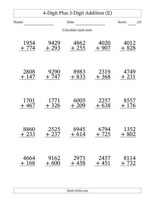 The 4-Digit Plus 3-Digit Addition with SOME Regrouping (E) Math Worksheet