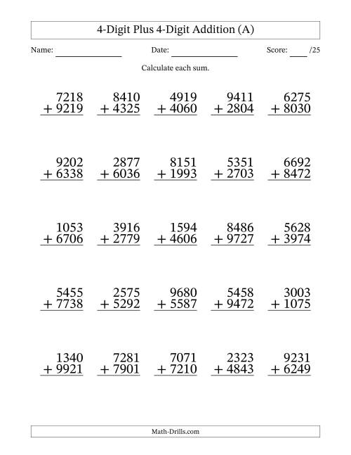 The Adding Four-Digit and Four-Digit Numbers (A) Addition Worksheet