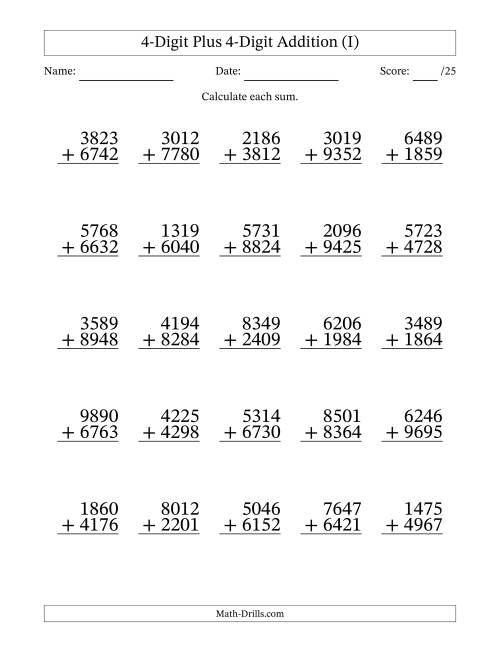 The 4-Digit Plus 4-Digit Addition with SOME Regrouping (I) Math Worksheet