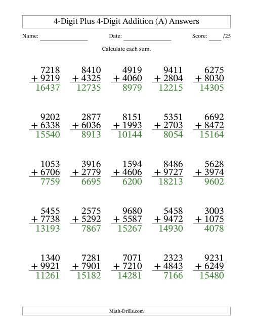 The 4-Digit Plus 4-Digit Addition with SOME Regrouping (All) Math Worksheet Page 2