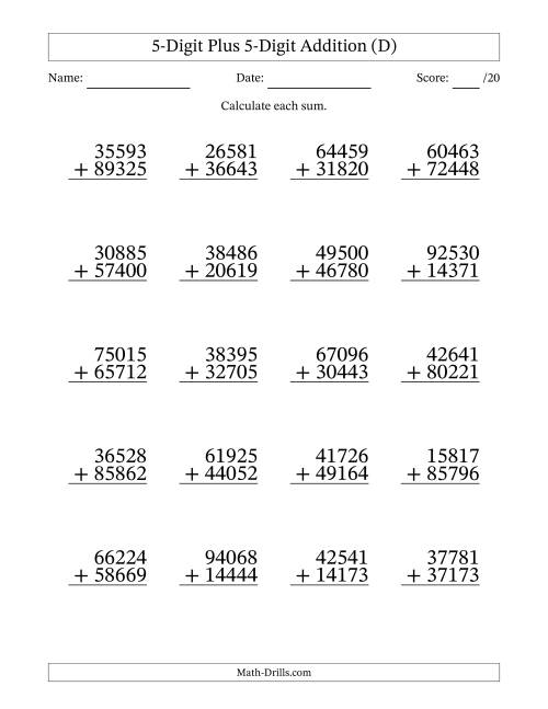 The 5-Digit Plus 5-Digit Addition with SOME Regrouping (D) Math Worksheet