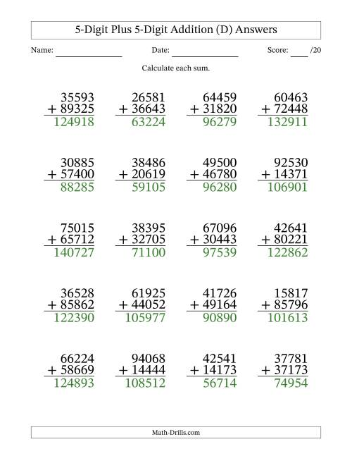 The 5-Digit Plus 5-Digit Addition with SOME Regrouping (D) Math Worksheet Page 2