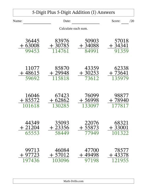 The 5-Digit Plus 5-Digit Addition with SOME Regrouping (I) Math Worksheet Page 2
