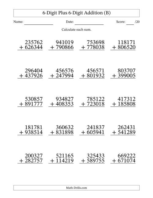 The 6-Digit Plus 6-Digit Addition with SOME Regrouping (B) Math Worksheet