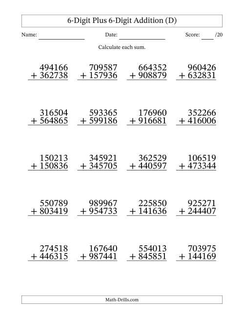 The 6-Digit Plus 6-Digit Addition with SOME Regrouping (D) Math Worksheet