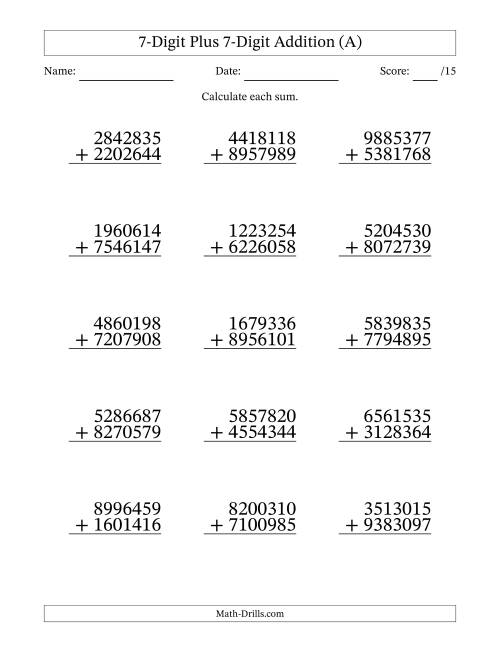 The 7-Digit Plus 7-Digit Addition with SOME Regrouping (A) Math Worksheet