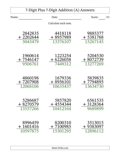 The 7-Digit Plus 7-Digit Addition with SOME Regrouping (A) Math Worksheet Page 2