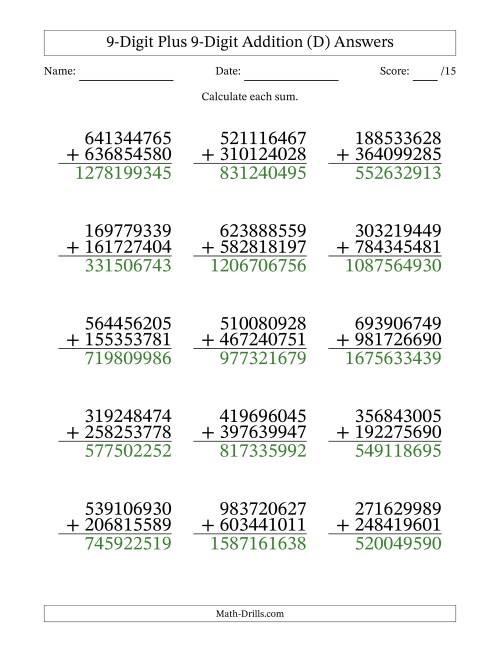 The 9-Digit Plus 9-Digit Addition with SOME Regrouping (D) Math Worksheet Page 2