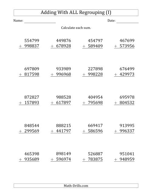 The 6-Digit Plus 6-Digit Addtion with ALL Regrouping (I) Math Worksheet