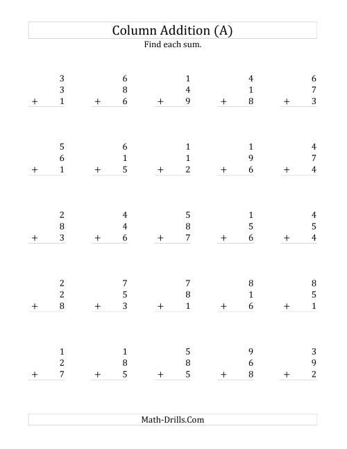 worksheet Single Addition Worksheets adding three one digit numbers a addition worksheet arithmetic
