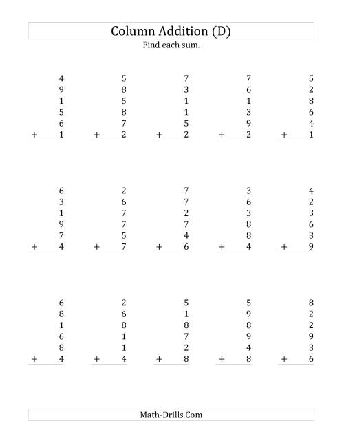 The Adding Six One-Digit Numbers (D) Math Worksheet