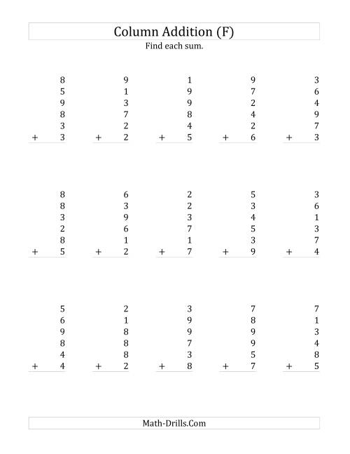The Adding Six One-Digit Numbers (F) Math Worksheet