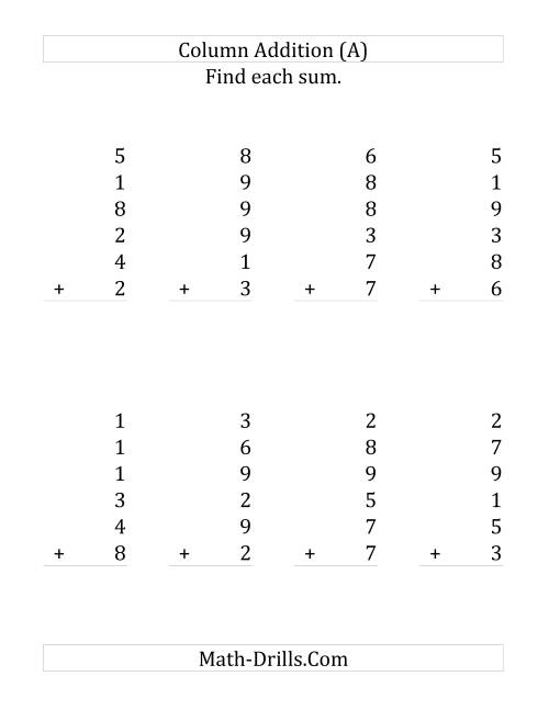 The Adding Six One-Digit Numbers (LP) Math Worksheet