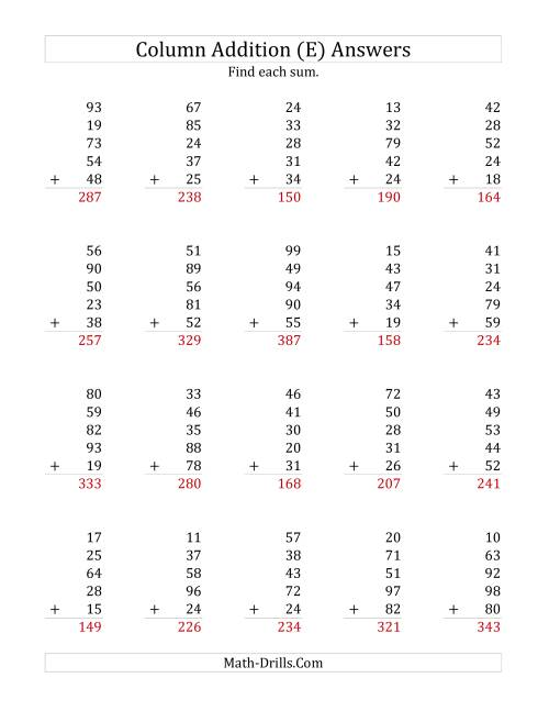 The Adding Five Two-Digit Numbers (E) Math Worksheet Page 2
