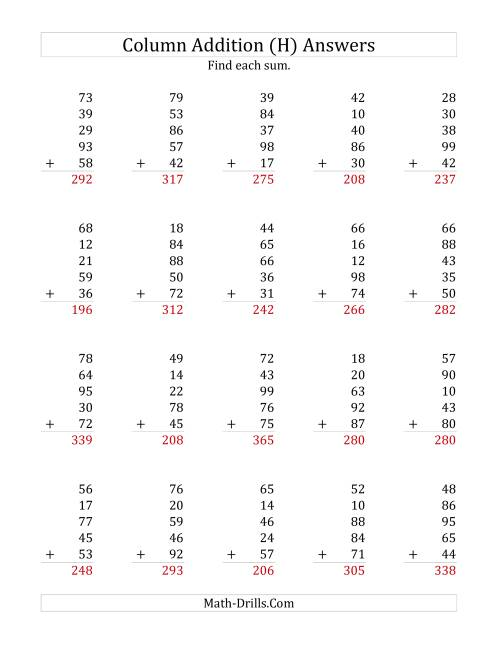 The Adding Five Two-Digit Numbers (H) Math Worksheet Page 2