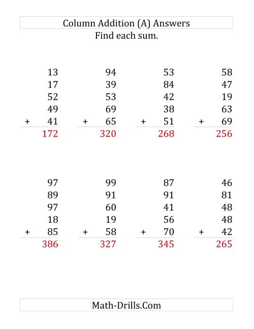 The Adding Five Two-Digit Numbers (LP) Math Worksheet Page 2