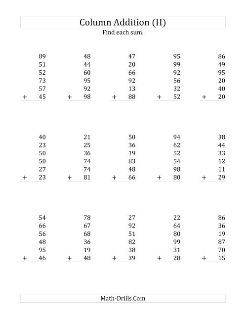 The Adding Six Two-Digit Numbers (H) Math Worksheet