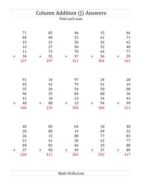 The Adding Six Two-Digit Numbers (J) Math Worksheet Page 2