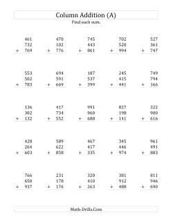addition worksheets adding three threedigit numbers
