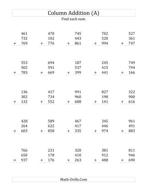 math worksheet : adding three three digit numbers a addition worksheet : Three Digit Addition Worksheet