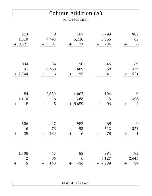Adding Three Various-Digit Numbers (A) Addition Worksheet