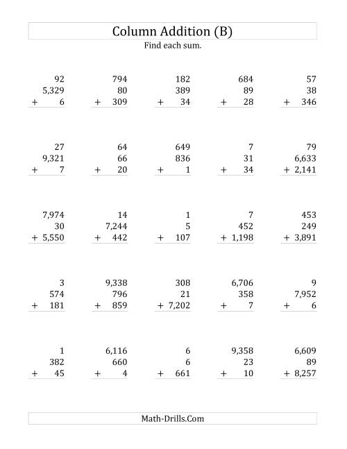 The Adding Three Various-Digit Numbers (B) Math Worksheet