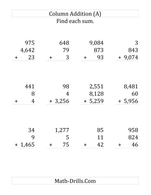 The Adding Three Various-Digit Numbers (LP) Math Worksheet