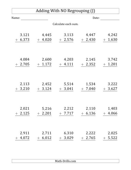 The 4-Digit Plus 4-Digit Addition with NO Regrouping and Comma-Separated Thousands (J) Math Worksheet