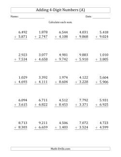 Addition Worksheets Multidigit Addition With Commaseparated Thousands