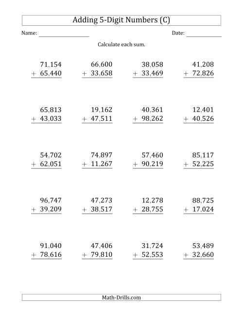 The 5-Digit Plus 5-Digit Addition with SOME Regrouping with Comma-Separated Thousands (C) Math Worksheet