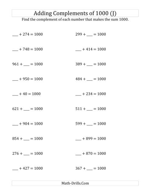The Adding Complements of 1000 (J) Math Worksheet