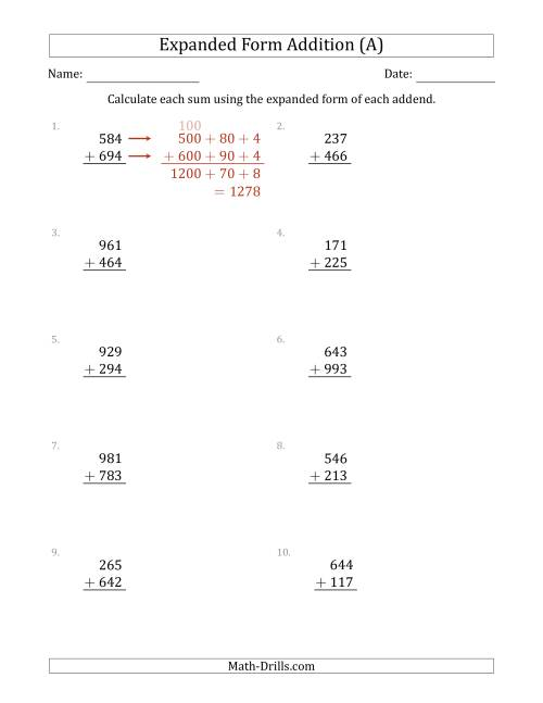 The 3-Digit Expanded Form Addition (A) Math Worksheet