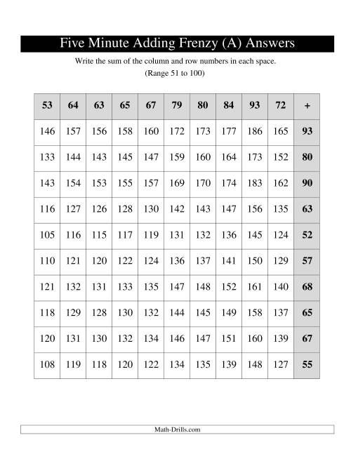 The Five Minute Frenzy -- One per page -- Range 51 to 100 -- Left Handed (Old) Math Worksheet Page 2