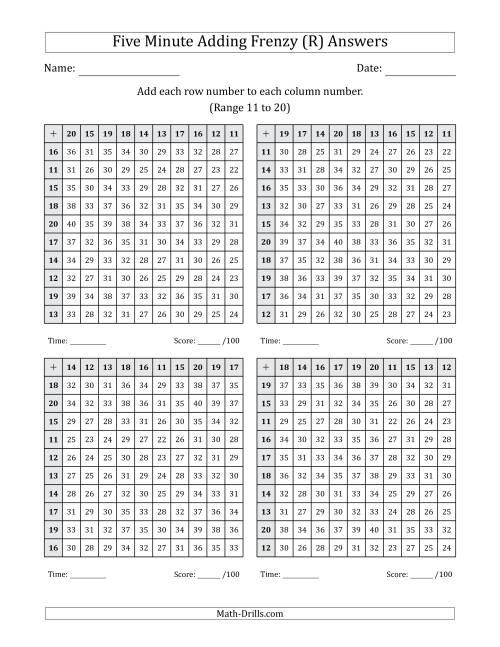The Five Minute Adding Frenzy (Addend Range 11 to 20) (4 Charts) (R) Math Worksheet Page 2