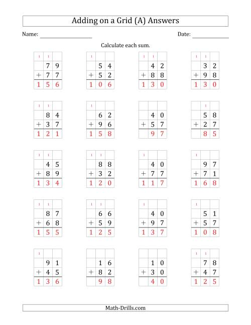 The Adding 2-Digit Plus 2-Digit Numbers on a Grid (A) Math Worksheet Page 2