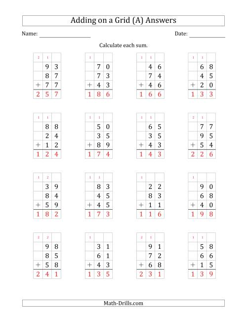 The Adding Three 2-Digit Numbers on a Grid (A) Math Worksheet Page 2