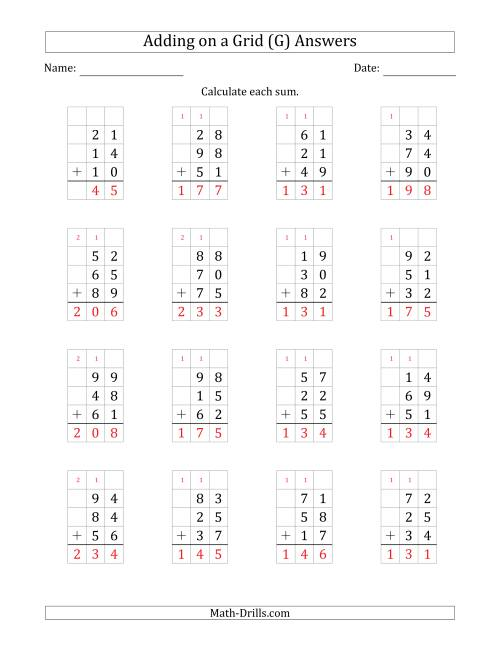 The Adding Three 2-Digit Numbers on a Grid (G) Math Worksheet Page 2