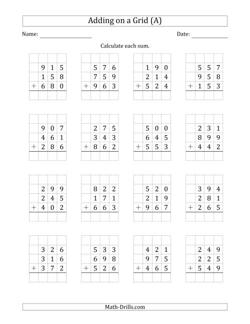 The Adding Three 3-Digit Numbers on a Grid (A) Math Worksheet