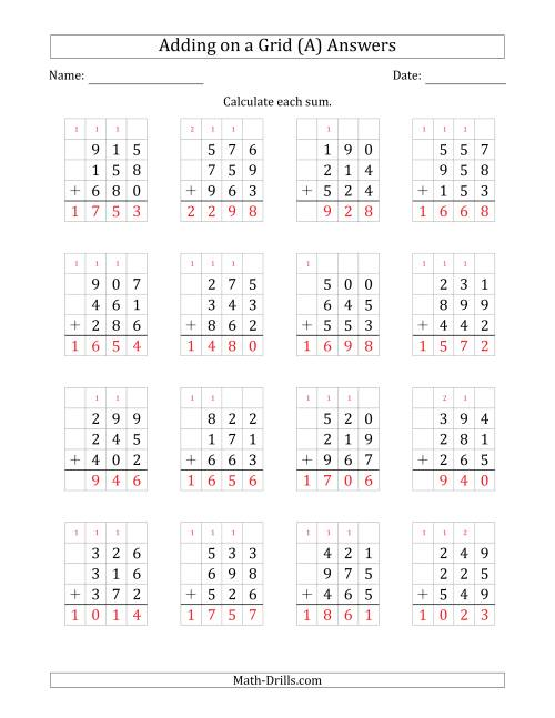 The Adding Three 3-Digit Numbers on a Grid (A) Math Worksheet Page 2